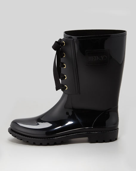 Lace-Up Rain Boot, Black