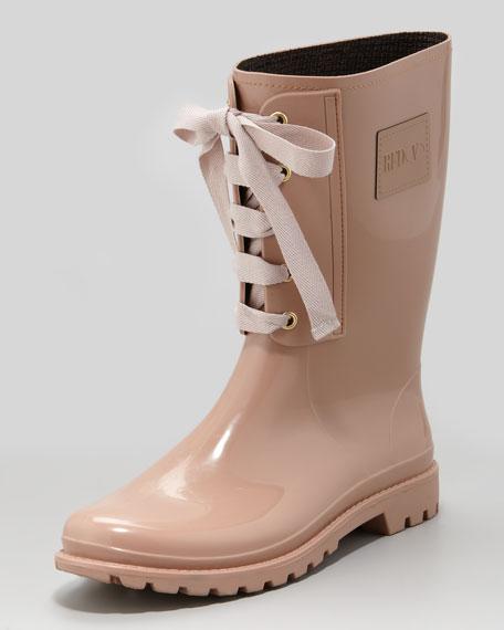 Lace-Up Rain Boot, Pale Rose