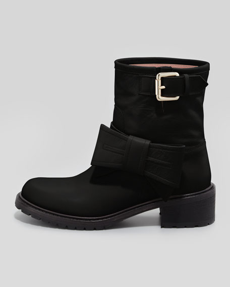 Bow Leather Moto Boot, Black