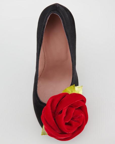 3D Velvet Rose Pump