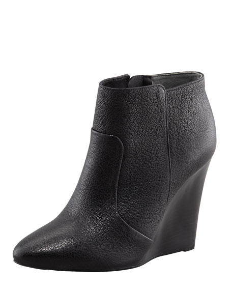Lara Leather Pointy Wedge Bootie, Black