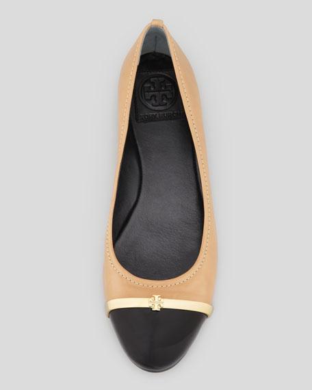 Pacey Patent Cap-Toe Ballet Flat, Beige