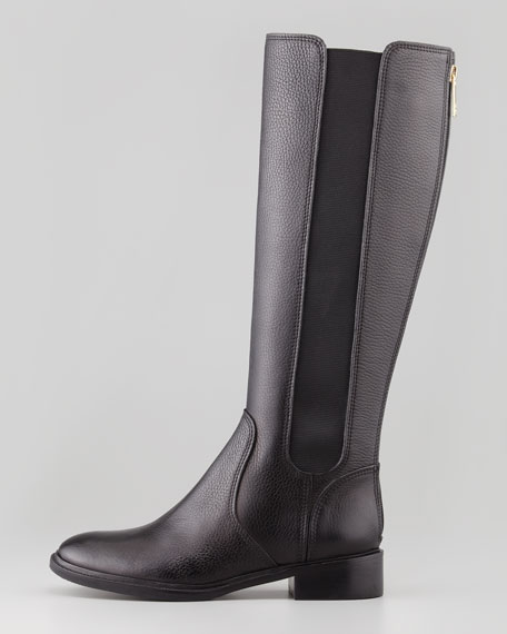 Christy Tumbled Leather Stretch Boot, Black