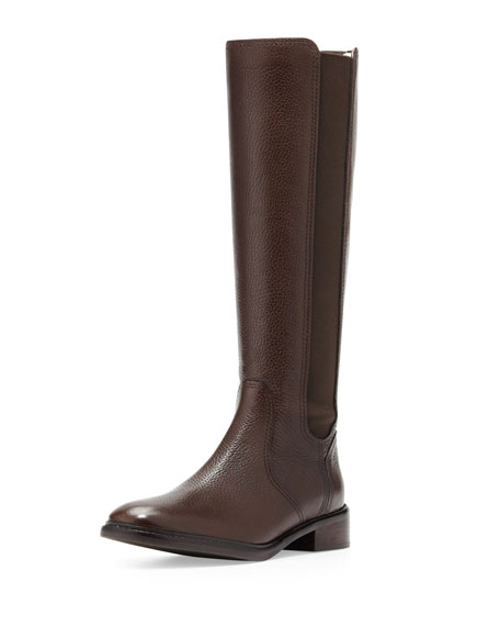 Christy Tumbled Leather Stretch Boot, Coconut