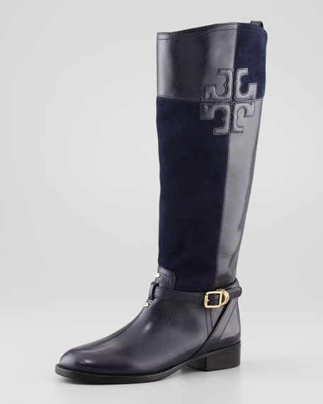 Lizzie Leather-Suede Riding Boot, Black/Navy