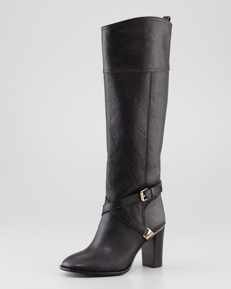 Livingston Leather Riding Boot, Black