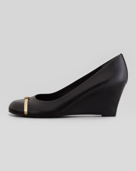 Pacey Cap-Toe Wedge Pump, Black