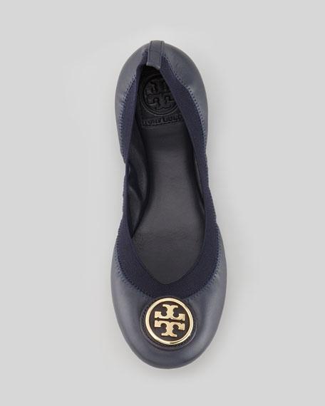 Caroline 2 Leather Stretch Ballerina Flats, Bright Navy