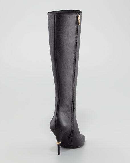 Bernice Leather Logo-Heel Boot