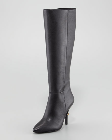 Tory Burch Bernice Leather Logo-Heel Boot