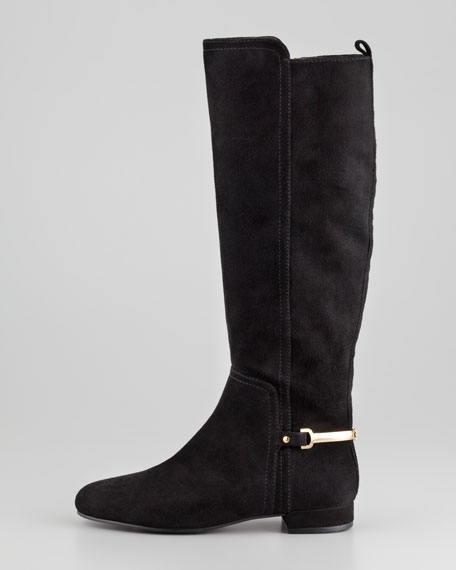 Jess Suede Metal-Band Riding Boot, Black