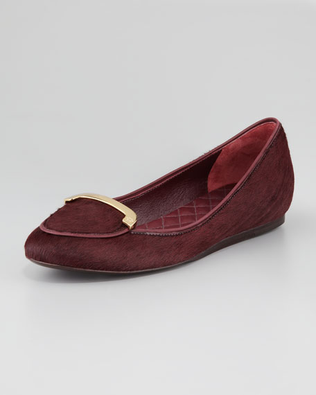 Jess Calfhair Smoking Slipper, Dark Plum