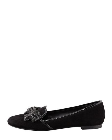 Carissa Jeweled-Bow Smoking Slipper, Black