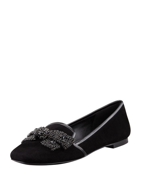 Carissa Jeweled-Bow Smoking Slipper, Black