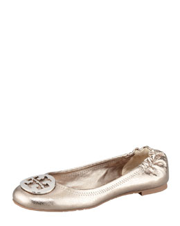 Tory Burch Reva Metallic Leather Ballerina Flat, Pewter