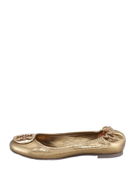 Reva Metallic Ballerina Flat, Olive