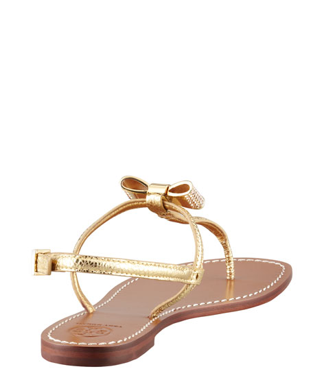 Bryn Pave-Bow Thong Sandal, Gold