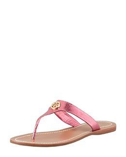 Tory Burch Cameron Metallic Leather Logo Thong, Pink