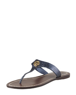 Tory Burch Cameron Metallic Leather Logo Thong Sandal, Navy