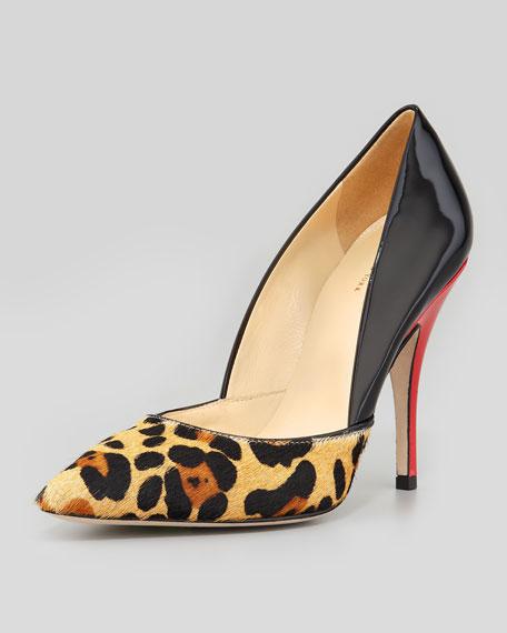 york lottie colorblock pump, leopard/black