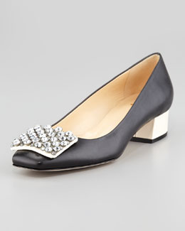 kate spade new york mixer jewel front low-heel pump, black/cream