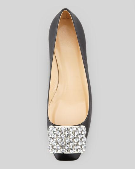 mixer jewel front low-heel pump, black/cream
