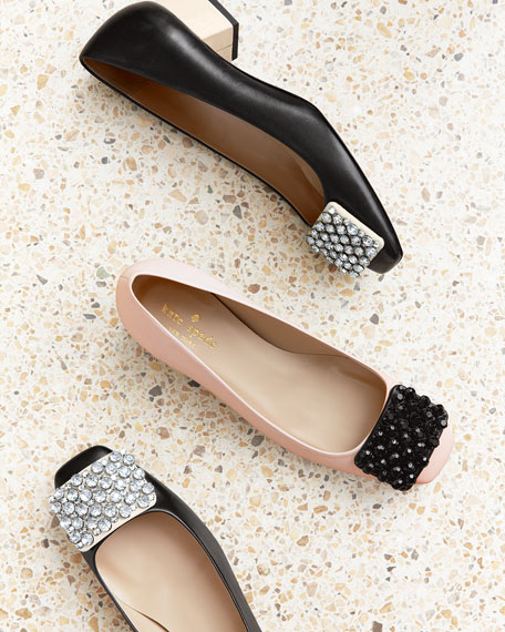 mixer crystal-buckle low-heel pump, rose/black