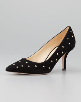 kate spade new york jacinda studded suede pump, black