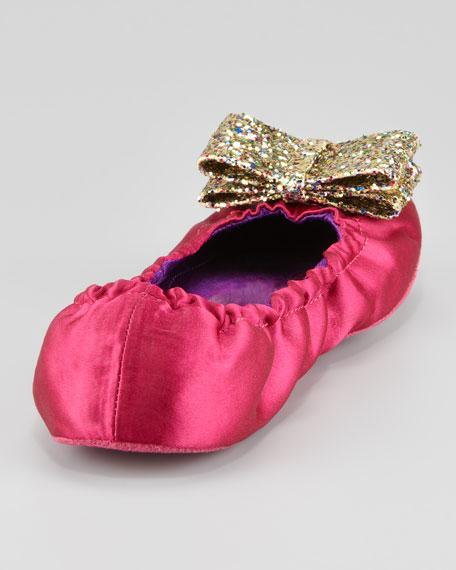 cayman glitter-bow satin slipper