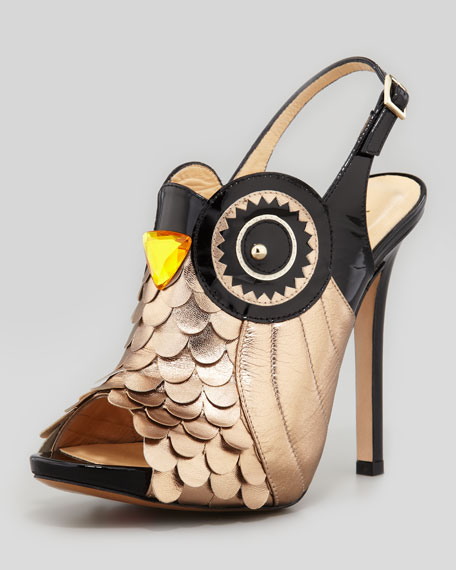 night owl slingback pump, black/rose gold
