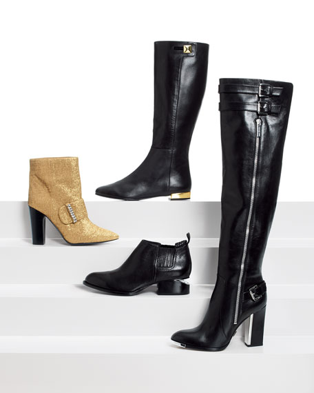 oliver flat golden-heel knee boot