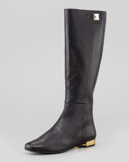 kate spade new york oliver flat golden-heel knee boot