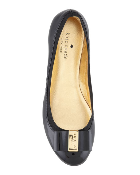 kate spade new york tock patent leather ballet flat, black