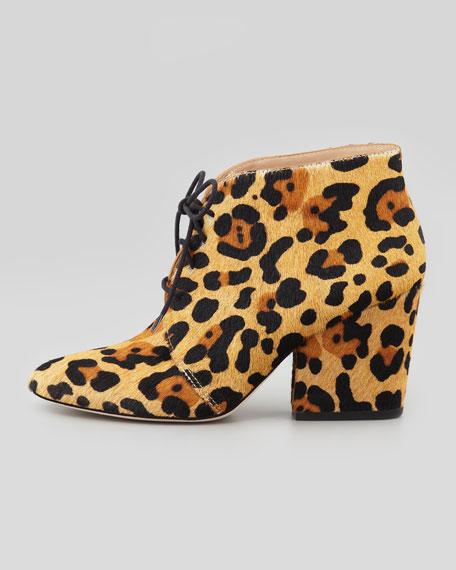 roger leopard-print calf hair bootie