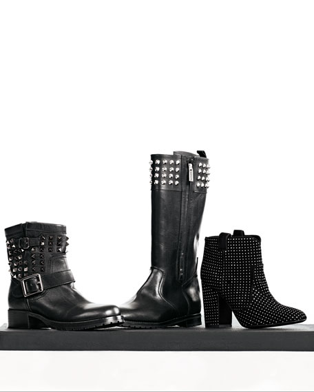 Noir Rockstud Short Motorcycle Boot