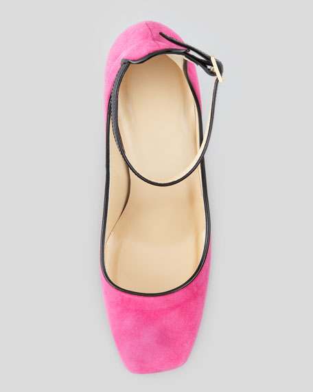 halo ankle-strap suede pump, deep pink