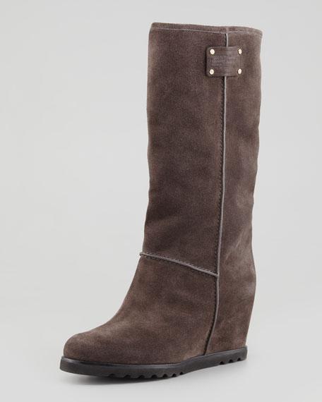 Standard Supply Logo Suede Wedge Knee Boot, Gray