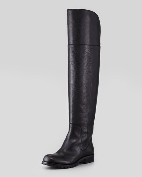 Over-The-Knee Leather Boot, Black