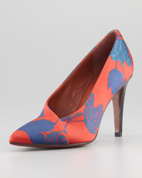 Mareika Floral-Print Pump, Red Multi