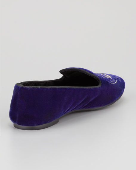 Velvet Owl Smoking Slipper, Purple/Gold