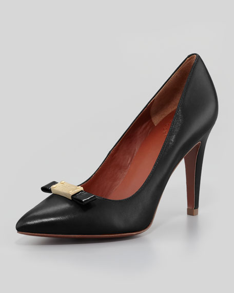 Leather Pointy Logo-Bow Pump, Black