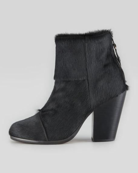Newbury Calf Hair Ankle Boot, Black