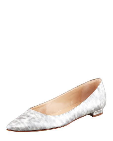 Titto Pointed-Toe Ballerina Flat, Gray