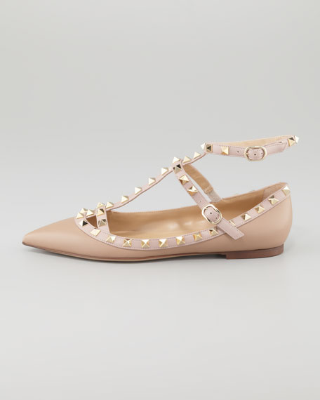 Rockstud Leather Caged Ballerina, Alpaca