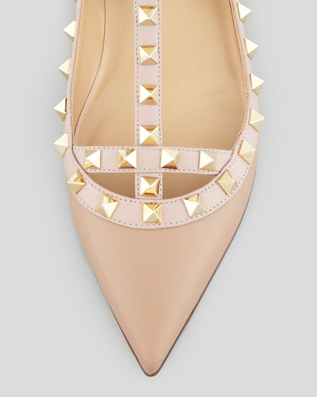 Valentino Rockstud Leather Caged Ballerina, Alpaca