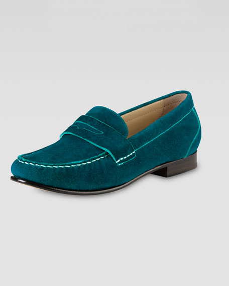 Monroe Suede Penny Loafer, Teal