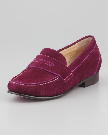 Monroe Suede Penny Loafer, Wine