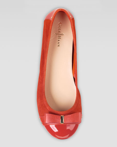 Air Monica Suede/Patent Ballerina Flat, Cinnabar