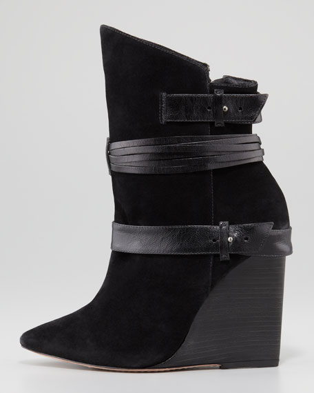 Owen Pointy-Toe Wedge Bootie, Black