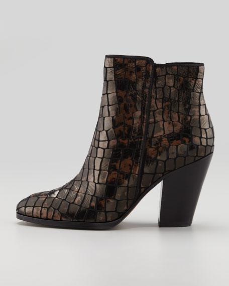 Swift Croc-Embossed Ankle Boot, Bronze/Black